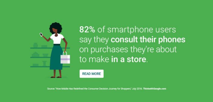 82% of smartphone users say they consult their phones on purchases