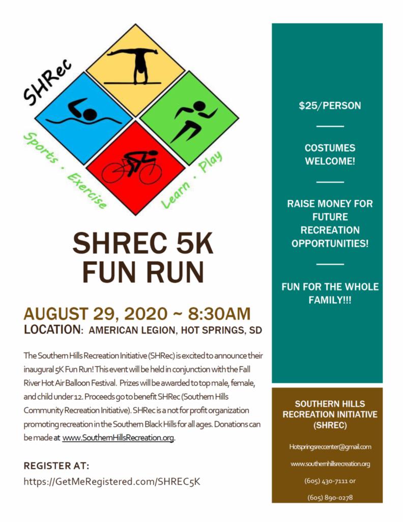 SHREC 5K FUN RUN | August 29, 2020 ~ 8:30AM Register At: https://getmeregistered.com/shrec5k