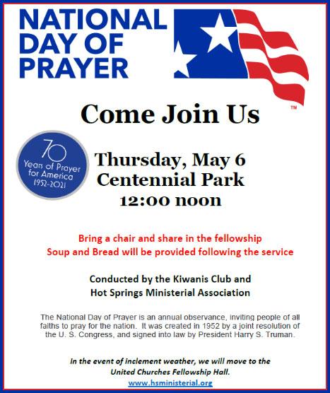 National Day Of Prayer At Centennial Park May 6th